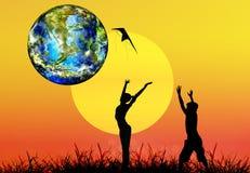 Tag der Erde.  Jahreszeitnatur. vektor abbildung
