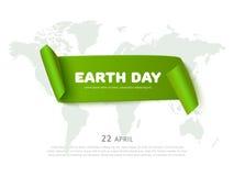 Tag der Erde-Konzept mit Grünbuchbandfahne, Weltkarte und Text, realistischer Vektor eco Hintergrund Lizenzfreie Stockfotografie