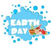 Tag der Erde-Plakat mit Blumentopf Lizenzfreie Stockfotos