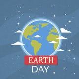 Tag der Erde-Weltnationales April Holiday Globe Nigth View-Emblem-ökologisches Schutz-Konzept Stockbilder