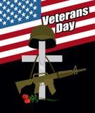 Tag der Erinnerung für Kriegsveteranen wir Dichtungs- und Fahnenillustrationsentwurf Kreuz mit s Stockbilder