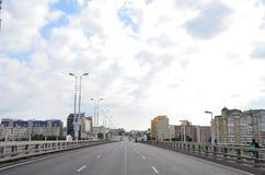 Tag der Stadt von Omsk, blockierter Verkehr auf den Straßen des c Lizenzfreie Stockfotos