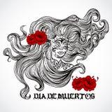 Tag der Toten Frau mit dem schönen Haar und den roten Blumen Gezeichnete Vektorillustration der Weinlese Hand Lizenzfreie Stockfotografie