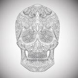 Tag der Toten Hand gezeichnete Schädel ornamentrd Vektorblumen Lizenzfreies Stockfoto