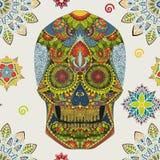 Tag der Toten Hand gezeichnete Schädel ornamentrd Vektorblumen Stockfotografie