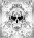 Tag der Toten, Schädel mit Blumenverzierung Stockfotografie