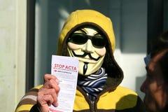 Tag der Weltdemonstration gegen Acta Lizenzfreies Stockbild
