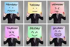 Tag der Woche und des Gesichtsausdrucks stockbild