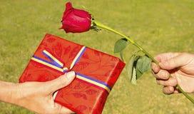 Tag des Gebens von einer Rose und von Buch Lizenzfreies Stockfoto