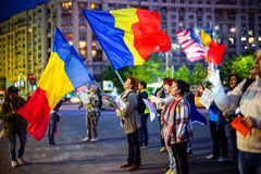 Tag 105 des Protestes, Bukarest, Rumänien Lizenzfreies Stockfoto