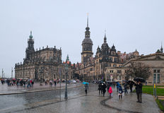 Tag des regnerischen Winters in Dresden Stockfoto