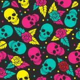 Tag des toten, bunten stilvollen Schädels mit Verzierung und des mit Blumen lizenzfreie abbildung
