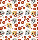 Tag des toten Feiertags in nahtlosem Muster Mexikos mit den Zuckerschädeln Skeleton endloser Hintergrund Dia de Muertos Stockfoto