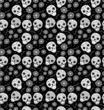 Tag des toten Feiertags in nahtlosem Muster Mexikos mit den Zuckerschädeln Skeleton endloser Hintergrund Dia de Muertos Lizenzfreie Stockfotos