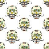 Tag des toten nahtlosen Musters, handdrawn Zuckerschädel mit Schnurrbarthintergrund, Vektorillustration stock abbildung
