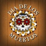 Tag des toten Schädel-Vektorplakathintergrundes Dia De Los Muertos Stockbild