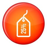 Tag with 25 discount icon, flat style Stock Photo