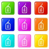 Tag with 25 discount set 9. Tag with 25 discount icons of 9 color set isolated vector illustration Stock Photography