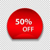 Tag, discount sticker isolated on transparent background. Vector. Sale label, retail badge or special offer. Red promotion campaign icon, 50% off, price tag for Royalty Free Stock Image