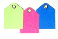 Tag do espaço em branco do papel colorido Fotos de Stock Royalty Free