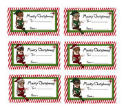 Tag do presente do Natal do duende Fotos de Stock Royalty Free