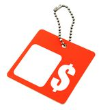 Tag with dollar symbol. And copy space por price, background is pure white stock images
