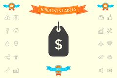 Tag with dollar symbol. Price tag icon for download. Signs and symbols - graphic elements for your design royalty free illustration
