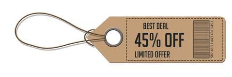 Tag em branco amarrado com corda Preço, etiqueta do presente, etiqueta da venda Imagem de Stock