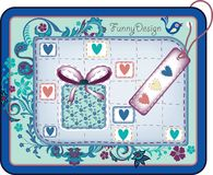 Tag with floral frame for holiday vector illustration