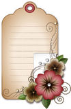 Tag. With flowers and pearles Royalty Free Stock Photo