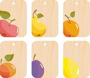 Tag with fruit. Wooden tag with fruits and berries Royalty Free Stock Photo