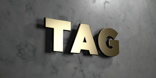 Tag - Gold sign mounted on glossy marble wall  - 3D rendered royalty free stock illustration. This image can be used for an online website banner ad or a print Royalty Free Stock Images