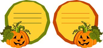 Tag for Halloween. Tag with pumpkins for Halloween vector illustration