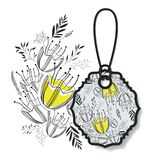 Tag hanging with floral pattern. Vector illustration design Stock Images