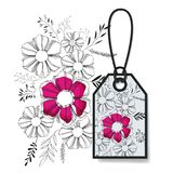 Tag hanging with floral pattern. Vector illustration design Stock Photo