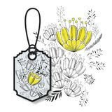 Tag hanging with floral pattern. Vector illustration design Royalty Free Stock Photo