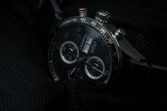 Tag Heuer Carrera Automatic Calibre 16 Black Clear Background Royalty Free Stock Images