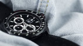 Tag Heuer Formula One Automatic Calibre 16 in Denim Background stock photo