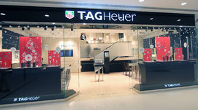 Tag Heuer-Shop in Hong Kong Stockbilder
