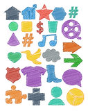 Tag icon colored pen shading effect set Royalty Free Stock Photo