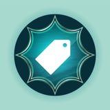 Tag icon magical glassy sunburst blue button sky blue background vector illustration