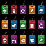 Tag icons on black, set 2 Royalty Free Stock Photos
