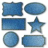 Tag label blue denim jean texture Stock Photos