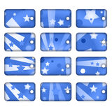 Tag or label collection. 12 tags or labels with blue stars and stripes Royalty Free Stock Photos