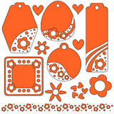 Tag or label collection with hearts and flowers Stock Image