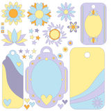 Tag, label, flowers, stars and hearts Stock Image