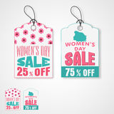 Tag or label for International Womens Day celebration. Stock Photos