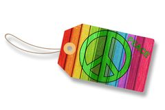Tag, Label - Peace Sign On Colorful Wooden Wall - Isolated On White. Background Stock Photos