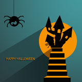 Tag, label or sticker with haunted house for Halloween party bac Stock Photo