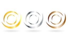Tag logo set. Golden, bronze, silver tag logo set on white background Royalty Free Stock Image